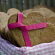 Stock Photo: Heart shape xmas spice cake