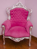 Pink antique arm chair with clipping path — Stock Photo