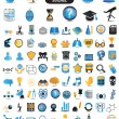 Stock Vector: 100 detailed icons of education and science