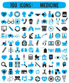 100 icons for medicine — Stock Vector