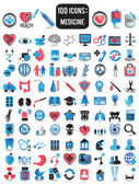 100 detailed icons for medicine — Stock Vector