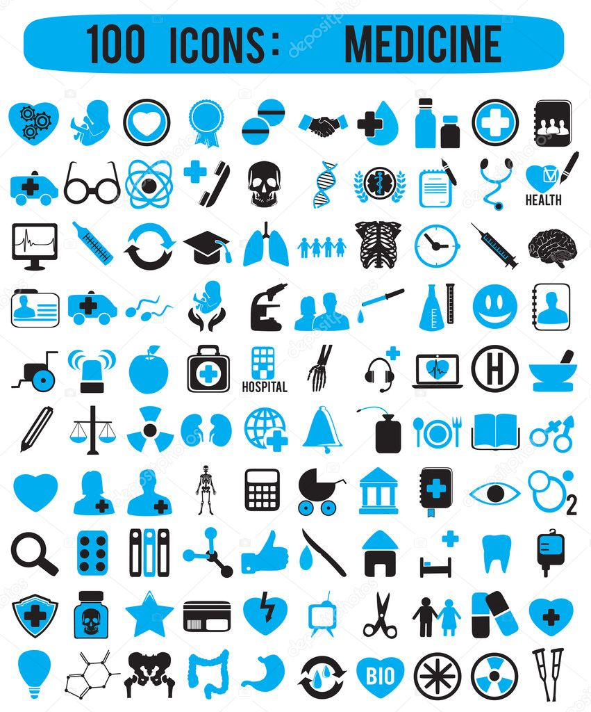 100 icons for medicine - vector icons — Stock Vector #12109241