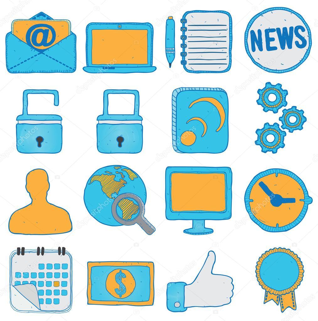 手绘制社交媒体和商务图标-矢量图标集