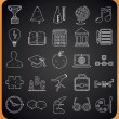 Education hand-drawn icons on blackboard — Vector de stock