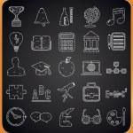 Education hand-drawn icons on blackboard — Stock Vector