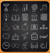 Education hand-drawn icons on blackboard — Stock Vector