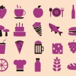 Stock Vector: Set of food icons