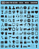 Set 100 various icons for design — Stock Vector