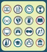 Conjunto de iconos vintage educación — Vector de stock