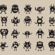 Set of monsters silhouettes — Stock Vector