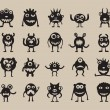 Stock Vector: Set of monsters silhouettes