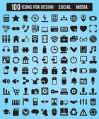 100 Icons For Web and Design Elements — Stock Vector