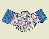 Abstract handshake of business — Stock Vector