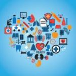 Abstrac concept of medicine Social media icons texture in heart shape compo — Stock Vector #13511212