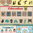 Stock Vector: Set of retro education icons with vintage background