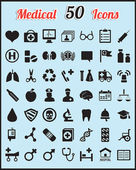 Set of 50 medical icons for design — Stock Vector