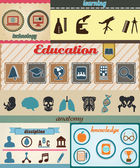 Set of retro education icons with vintage background — Stock Vector