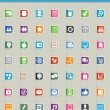 Set of 50 social media icons and paper cut — Stock Vector #13897144