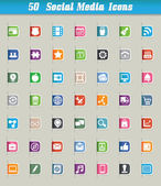 Set of 50 social media icons and paper cut — Stock Vector