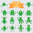 Set of green robots for design — Stock Vector #14122492