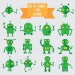 Stock Vector: Set of green robots for design