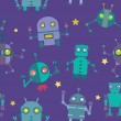 Seamless Robots pattern - Stock Vector