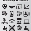 Stock Vector: Set of network and community icons