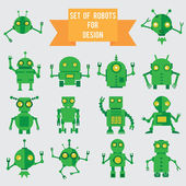 Set of green robots for design — Stock Vector