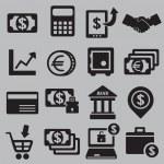 Satz von Geld Symbole — Stockvektor