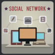 Retro concept of social network — Stock Vector #19226557