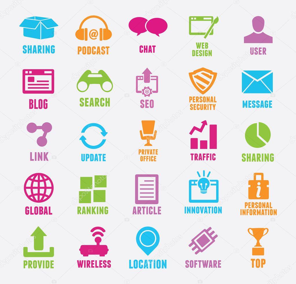 组的seo 和互联网服务图标