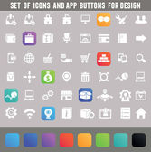 Set of icons and app buttons for design — Stock Vector