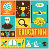 Retro poster of education — Stock Vector