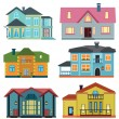 Set of cottage for infographics. Design map element — Imagen vectorial