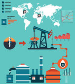 Process of oil production and petroleum refining - Infographic design elements — 图库矢量图片