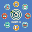 Concept of marketing.Target marketing with icons  — 图库矢量图片