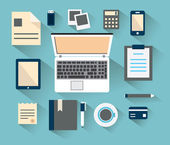 Workplace with mobile devices and documents. Flat style with long shadows — Vettoriale Stock