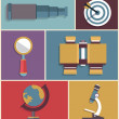 Stok Vektör: Vector set of equipments for search. Flat style design