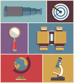 Vector set of equipments for search. Flat style design — Vettoriale Stock