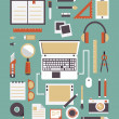 Vector set of equipments for design. Designer gadgets for creativity. Flat style design — Image vectorielle