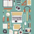 Vector set of equipments for design. Designer gadgets for creativity. Flat style design — Imagens vectoriais em stock
