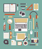 Vector set of equipments for design. Designer gadgets for creativity. Flat style design — Stock Vector