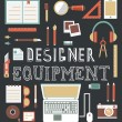 Vector set of equipment for design. Designer gadgets for creativity. Flat style design — Imagens vectoriais em stock