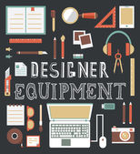 Vector set of equipment for design. Designer gadgets for creativity. Flat style design — Stockvector