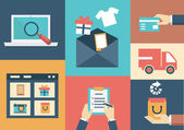 Vector concept of process email marketing. Flat style design — Stock Vector