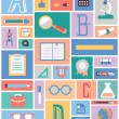 Set of education equipment. Flat style design — Image vectorielle