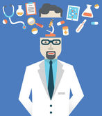 Vector picture of male doctor with medicine symbols — Stock Vector