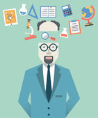 Vector picture of scientist with science symbols. Flat style design — Stock Vector