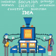 Brainstorm of businessmand businesswoman. Create ideas and creative solutions — стоковый вектор #37093943