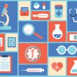 Flat medical symbols and instruments. Healthcare and therapy — Vector de stock